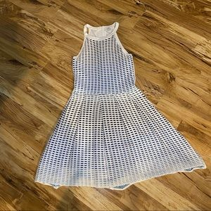 Parker White with Blue Pleats Dress Size Small